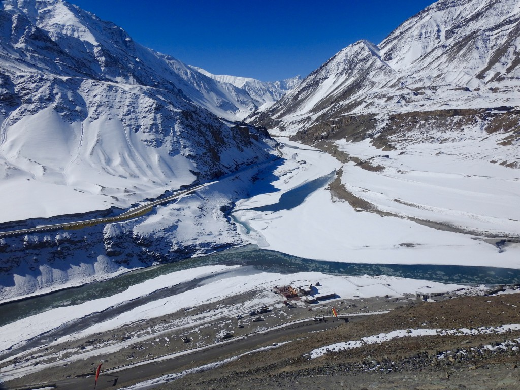 The frozen confluence of Indus and Zanskar rivers